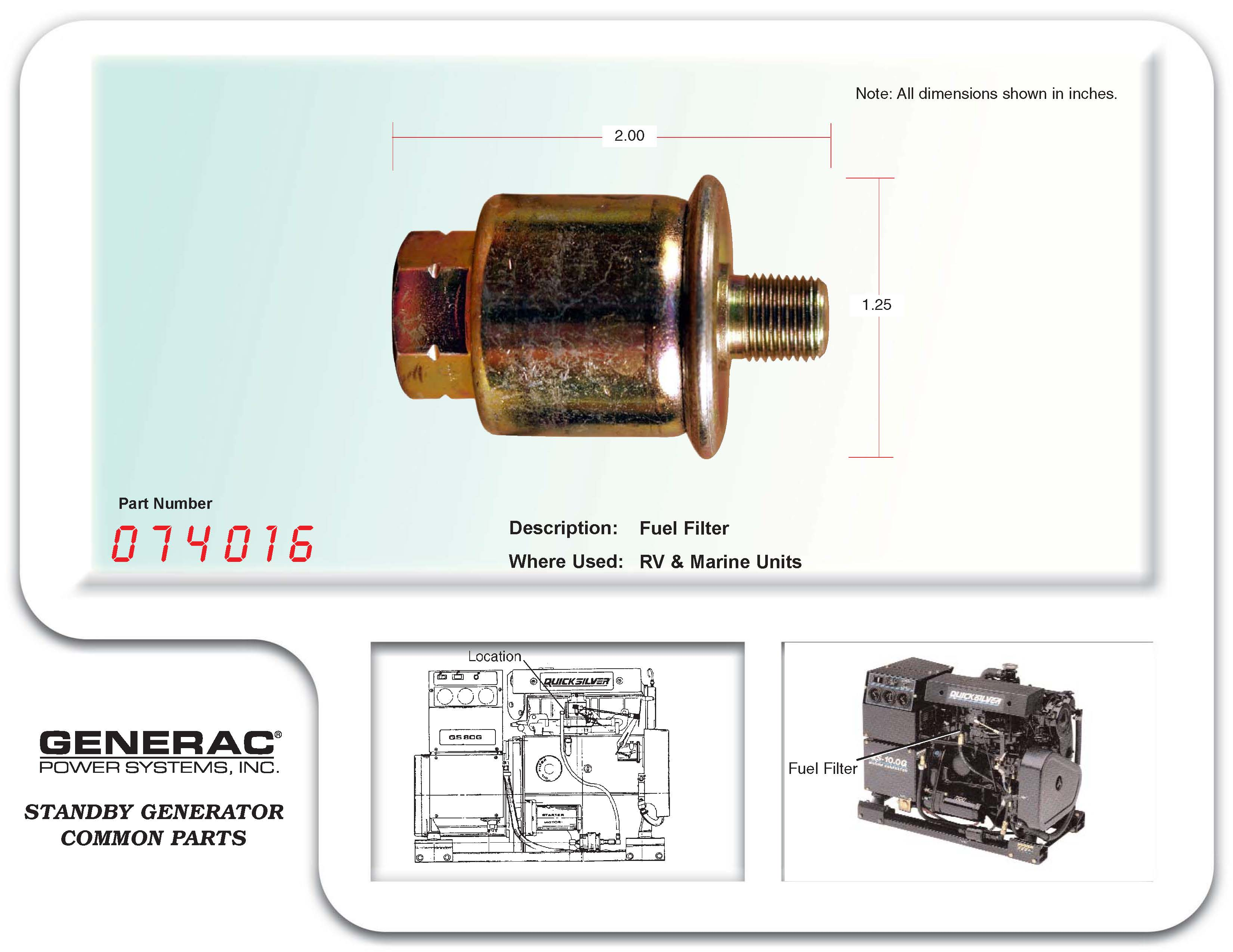 Generac Fuel Filter 87769 | Wiring Library